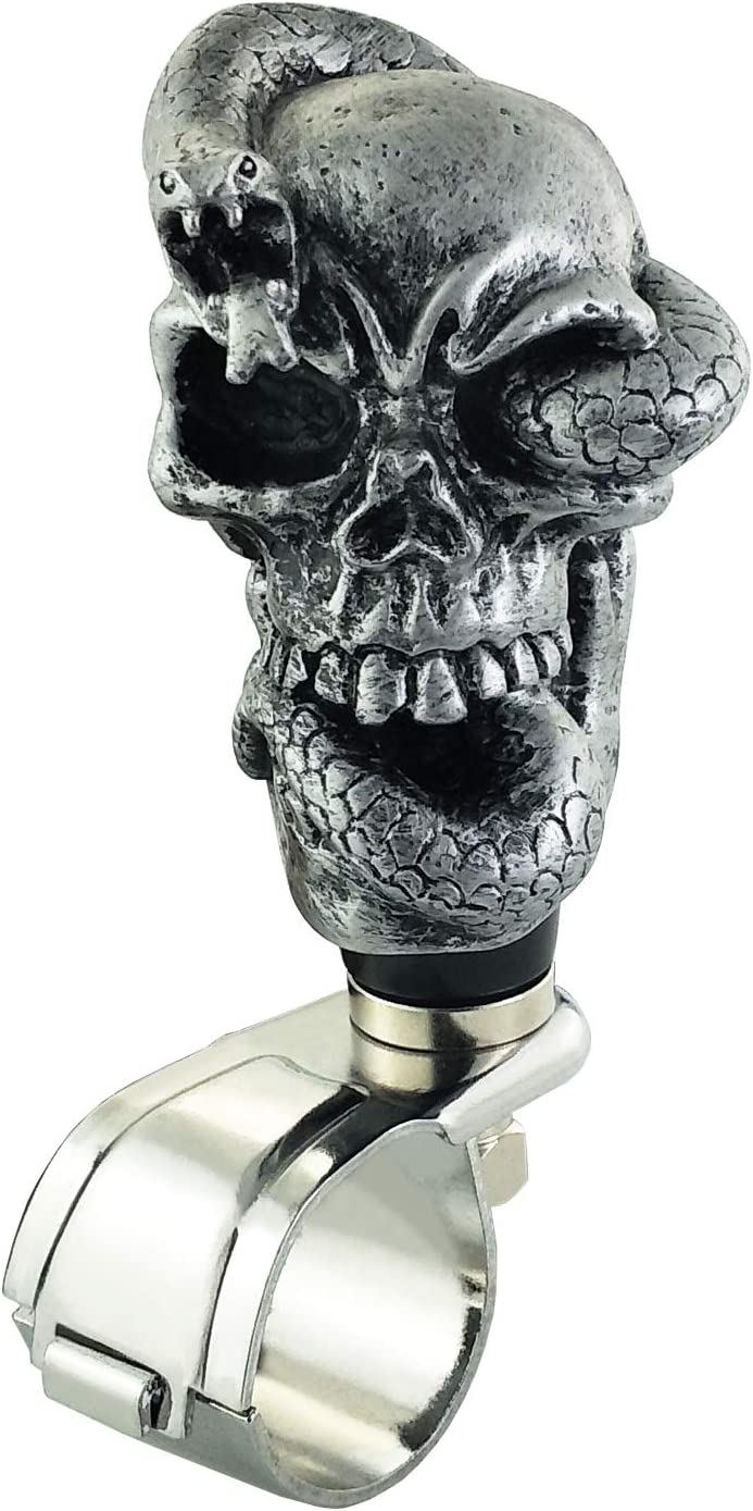 Lunsom Skull Steering Knob Snake Resin Wheel Suicide Spinner Driving Power Handle Control Grip Booster Car Turning Aid Helper Fit Universal Vehicle Silver