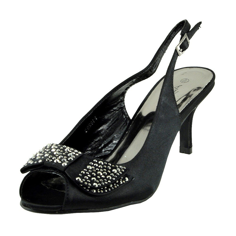 Kick Footwear - Donna Womens basso, tacco a stiletto raso scarpe da sposa scarpe festa Nero