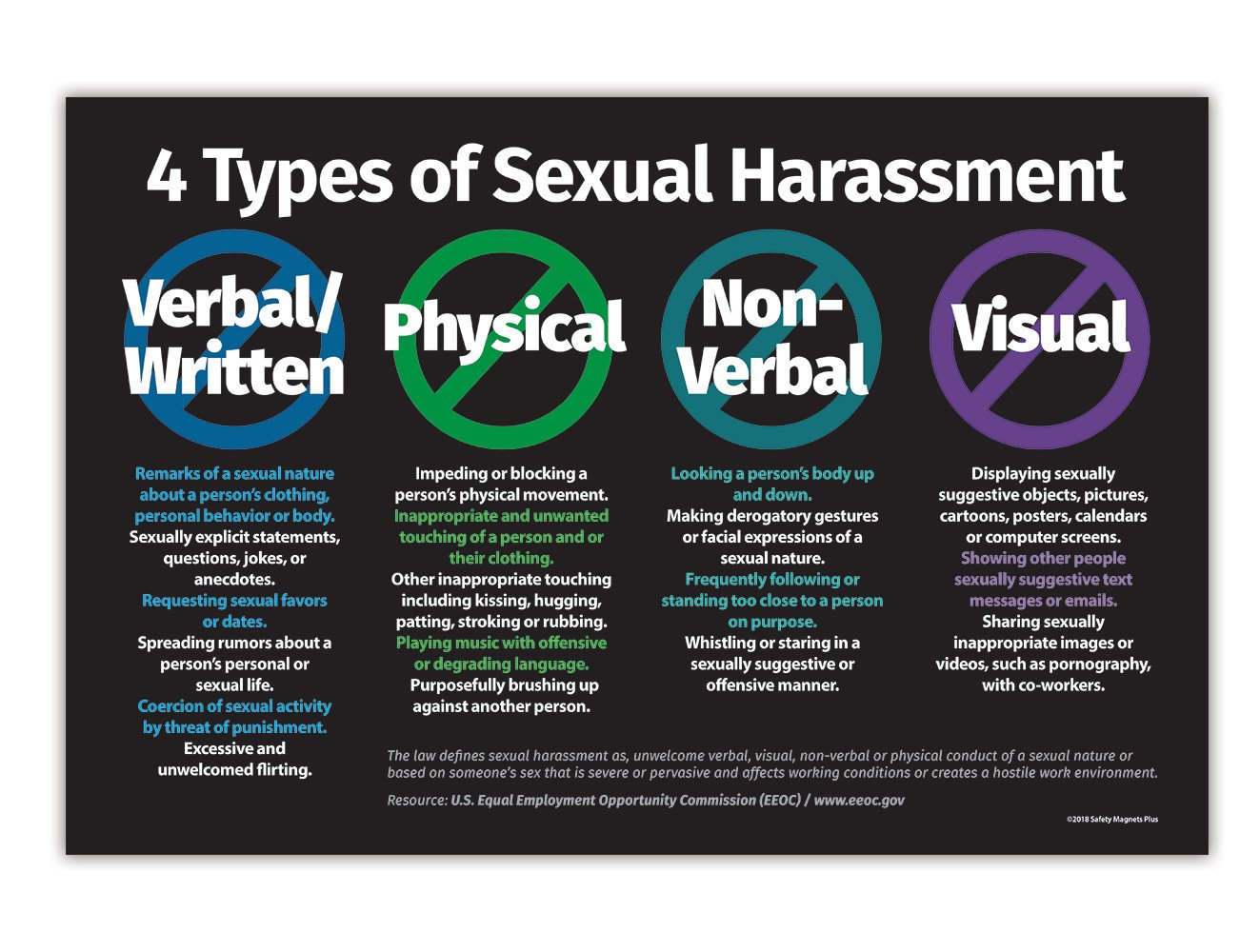 4 Types of Sexual Harassment Workplace Poster - 12 x 18 inches - Laminated  Poster
