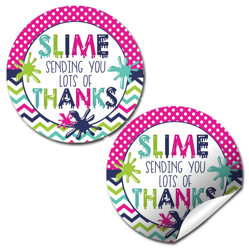 Amazon com slime birthday party sticker labels 40 2 party circle stickers by amandacreation great for party favors envelope seals goodie bags