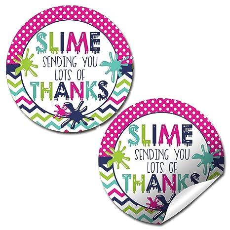 Amazon.com: Slime fiesta de cumpleaños etiquetas de vinilo ...