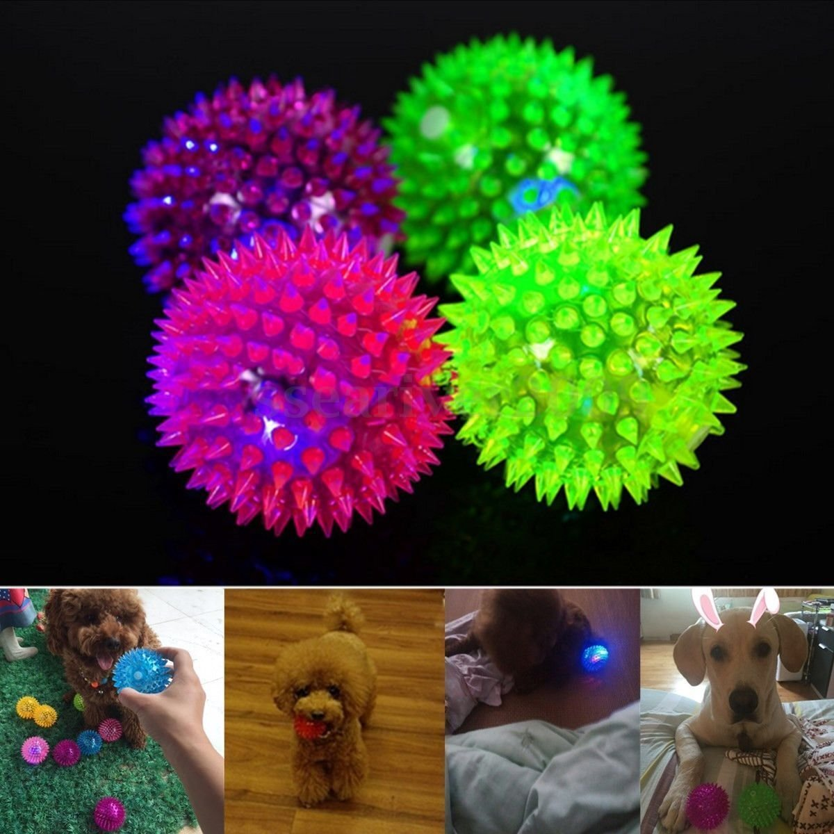 12Pcs 7.5cm Elastic LED Flashing Spiky Massage Ball for Pet Dog Cat Entertained