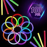 CoBeeGlow 100 Glow in The Dark Bracelets with Pre-Attached Connectors - 9 Vibrant Neon Colors- Glow Stick Bracelets Bulk…