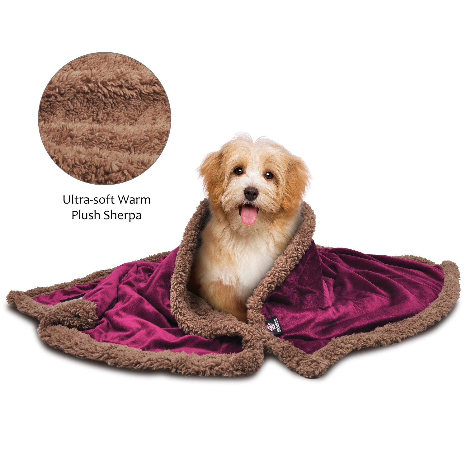 Pawsse Sherpa Puppy Blanket for Small Dogs Kitten, Warm Flannel Plush Pet Bed Blanket Reversible, 45''x30'' Wine/Brown