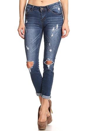6fbe2a571769 wax jean Women's Low Rise Distressed Denim Skinny Jeans (1, Dark Wash)