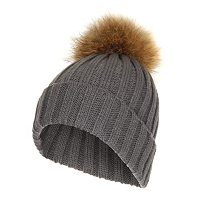 e30f4bddffb Unisex Ribbed Soft Cable Knit Bobble Hat with Detachable Faux Fur Pom Pom ( Grey)  Amazon.co.uk  Clothing