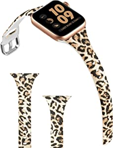 ACBEE Compatible with Apple Watch Band 38mm 40mm 42mm 44mm for Women Small Large, Slim Narrow Floral Bands for Apple Watch Series 5/Series 4/Series 3/Series 2/Series 1 (Cheetah, 42mm/44mm)