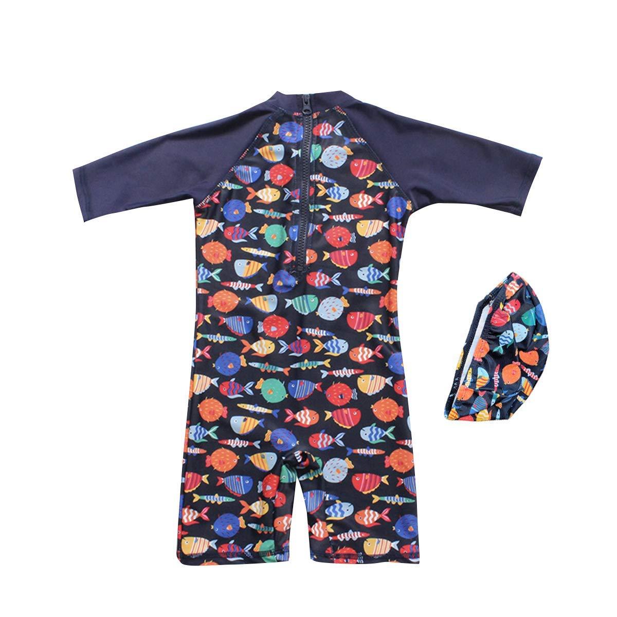 Megartico Boys/' Swimsuit One Piece Rash Guard Kids Long Sleeve Sunsuit Swimwear Sets Toddler Beach Sport Surf