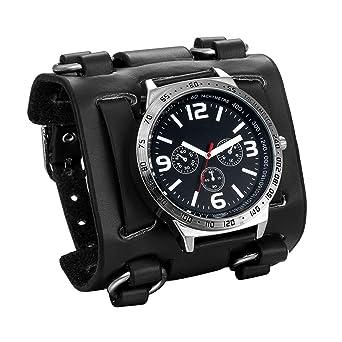 livraison rapide détaillant où acheter JewelryWe Montre de Poignet Homme garçons Bracelet Marron/Noir Bracelet en  Cuir Large