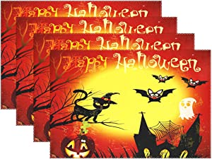 Halloween Black Cat Bat Castle Place Mats Set of 4, Full Moon Pumpkins Washable Fabric Placemats for Dining Room Kitchen Table Decoration Home Decor Table Mats 12x18 inch for Kids