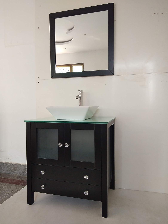 30 Freestanding Wooden Modern Bathroom Vanity Ceramic Sink Vessel Set Bathroom Mirror Included White Kitchen Bath Fixtures Tools Home Improvement