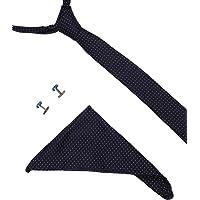 Blacksmith Polka Navy Tie, Cufflink, Pocket Square Set for Men