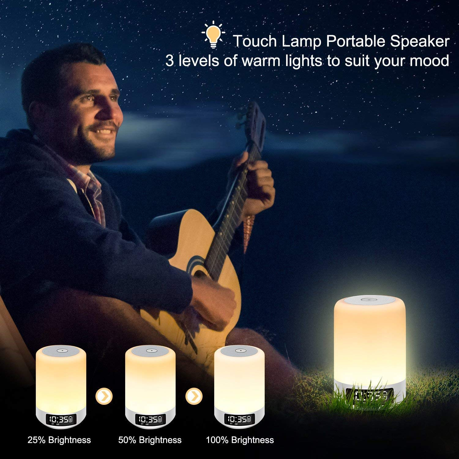 Digital Alarm Clock The Best Gift for Kids Touch Sensor Bedside Lamp YSD Night Light Bluetooth Speaker Party. Support AUX Line and MP3 Dimmable Warm Light 4000mAh Rechargeable Bettary