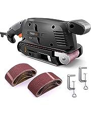 Levigatrice a Nastro, Tacklife 600W Levigatrice 360-560 RPM con 13 Nastro Abrasivo 75x457mm, 2 Adattatore per Aspirapolvere 32/35mm, Contenitore Microfilter per Decorazione Domestica PSFS1A