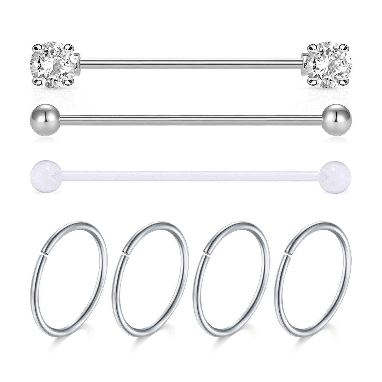 JFORYOU Silver Industrial Piercing Barbell and Cartilage Earrings Set Cartilage Earrings Helix Earring