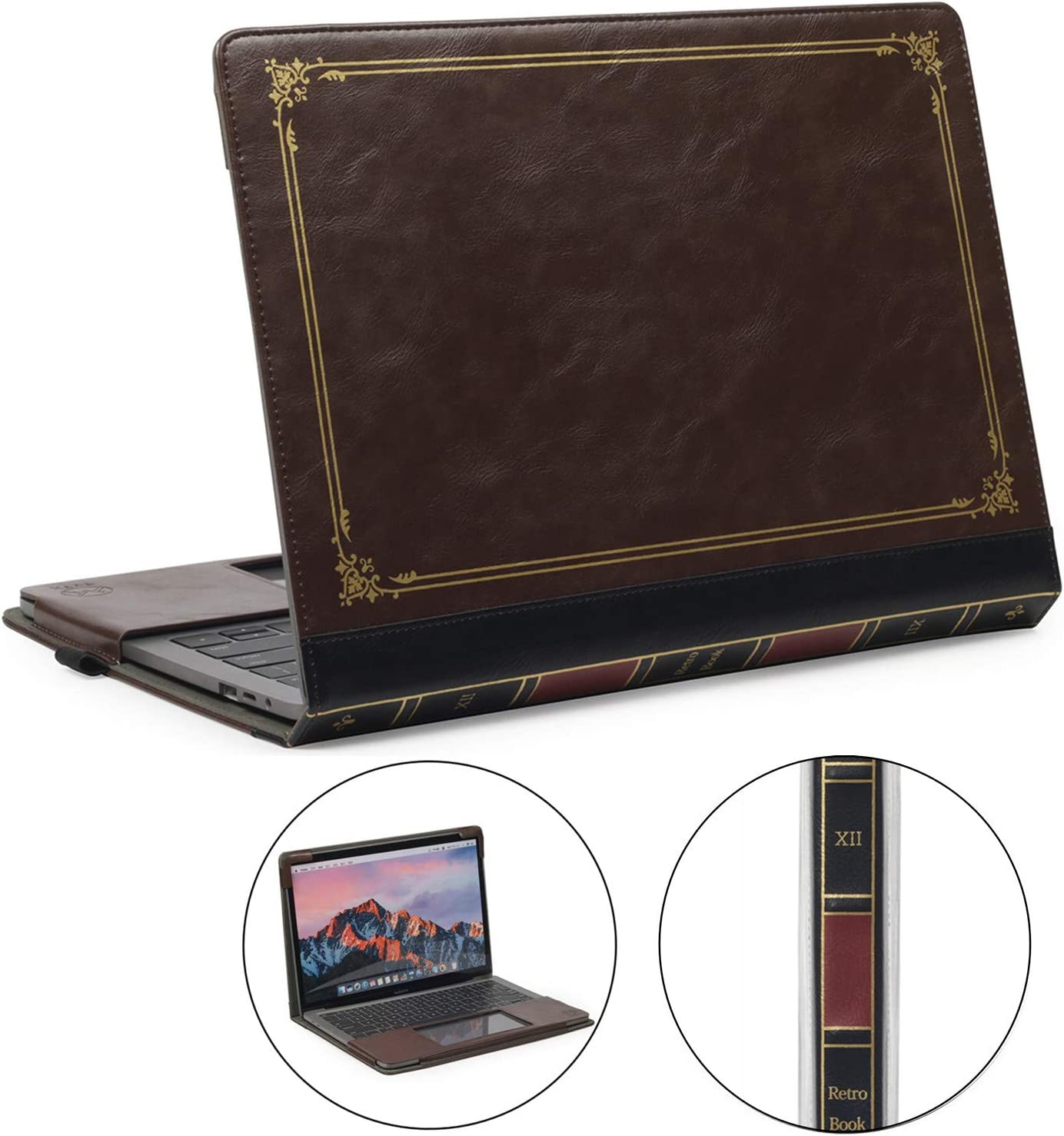 """TYTX MacBook Pro Leather Case 13 Inch 2016-2020 (A1989 A1706 A1708 A2159 A2289 A2251) Protective BookBook Folio Cover (New MacBook Pro 13"""", Brown)"""