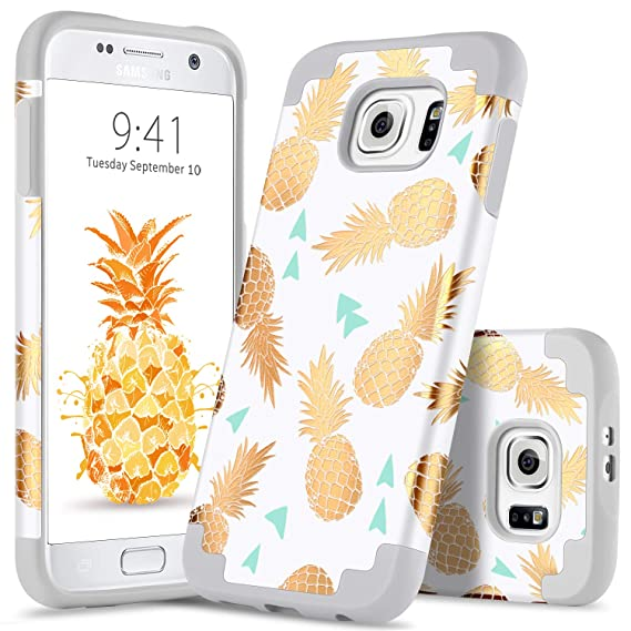 purchase cheap 0c1f4 9986f GUAGUA Galaxy S6 Case Slim Lightweight Gold Pineapple Hybrid Hard PC Soft  Silicone Rubber Glossy Cover Anti-Slip Shockproof Anti-Scratch Full ...