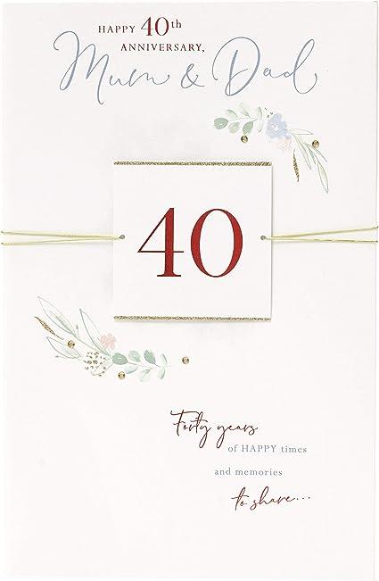 Anniversario Di Matrimonio Mamma E Papa.Uk Greetings Biglietto Di Auguri Per 40 Anniversario Di