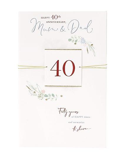 Biglietti Di Anniversario Di Matrimonio.Uk Greetings Biglietto Di Auguri Per 40 Anniversario Di