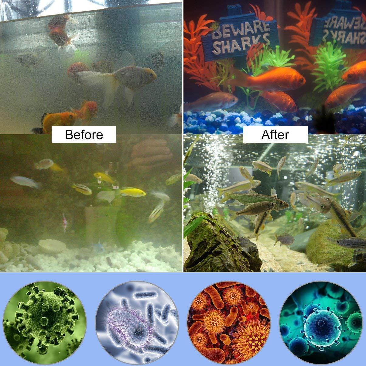 KOBWA 7W//11W UV-Aquarium-Sterilisator UV-Licht Tauch Wasserdichtes Gr/ün Algen Bakterien T/ötung Licht f/ür die Reinigung von Wasser-Aquarien Fischtanks