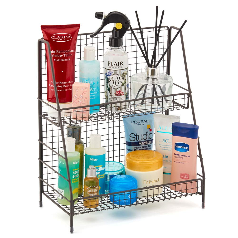 2-Tier Organizer Rack, EZOWare Wire Basket Storage Container Countertop Shelf for Kitchenware Bathroom Cans Foods Spice Office and more - Rustic Brown