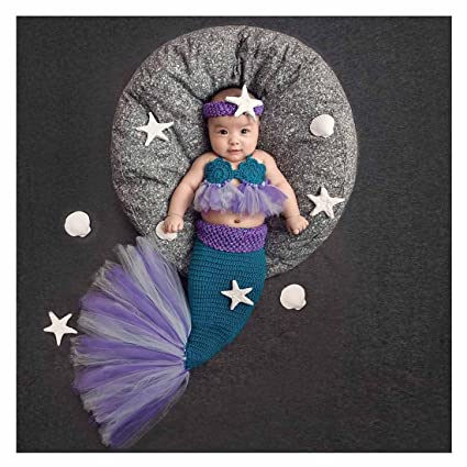 41b677258e007 Newborn Baby Crochet Knitted Photography Props Purple Mermaid Bra Tail  Outfits M  G House Unique Christmas Gifts