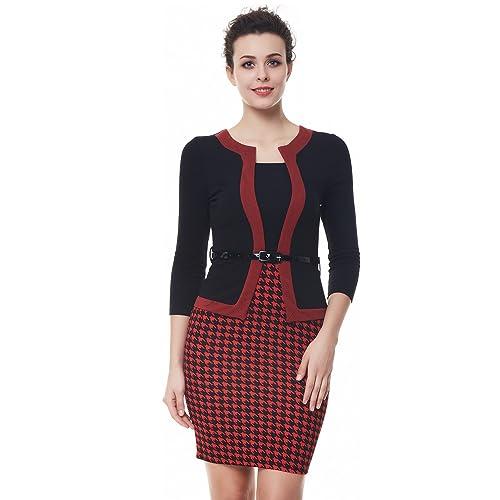 Kenancy Elegante Mujer Vestido Lápiz Midi Falda Mangas Largas con Cinturón Vestidos de Oficina S-