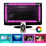 TV LED illuminazione, EveShine Striscia LED TV 78.7in/2 m/4 Nastri a Multicolore RGB Retroilluminazione TV a LED con Telecomando per HDTV da 40 a 60 Pollici - Riduce l'Affaticamento Visivo ed