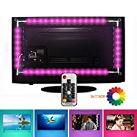 Tiras LED Iluminación (78.7in/2m. en 4 bandas), EveShine RGB TV LED operadas con mando a distancia para Televisores de 40 a 60 pulgadas - Reduce el cansancio visual y aumenta la calidad de la imagen