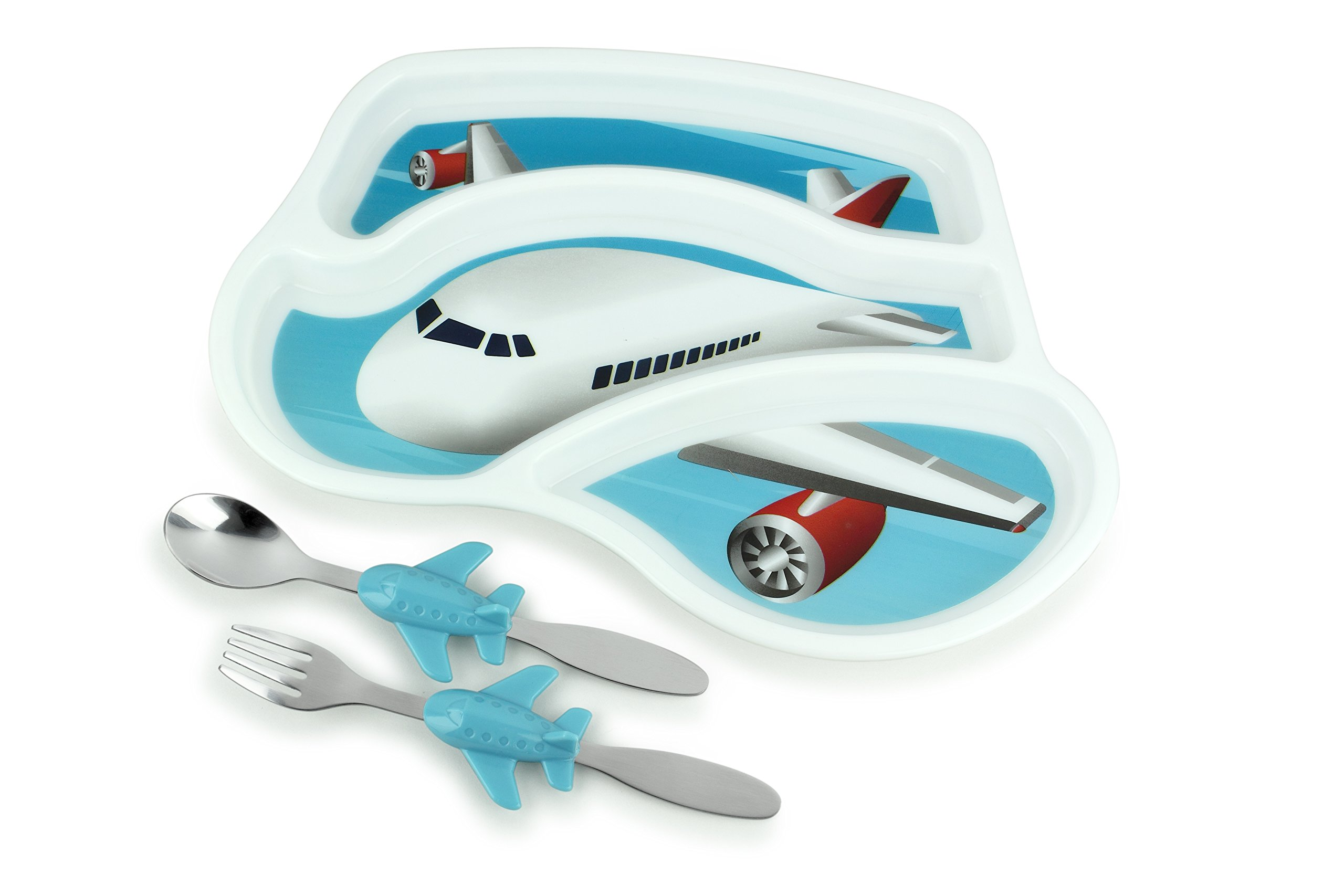 KidsFunwares Me Time Meal Set (Airplane) – 3-Piece Set for Kids and Toddlers – Plate, Fork and Spoon that Children Love - Sparks your Child's Imagination and Teaches Portion Control - Dishwasher Safe