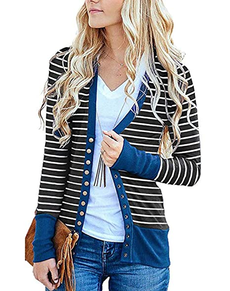 d23f918bb3 Barnkas Women s Long Sleeve Cardigans Plus Size Striped Snap Button Down  Sweaters Loose Fit Striped Cardigans