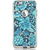 iPhone 6 Case White Floral Blue [Dual Layered] Protective Commuter Case for iPhone 6S White Case by Unnito