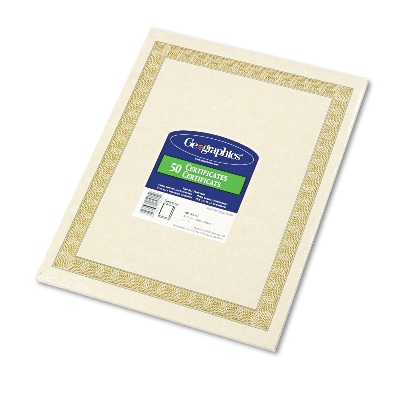 Geographics 21015 Parchment Certificates, 8.5 x 11, Diplomat Border, 50/Pack