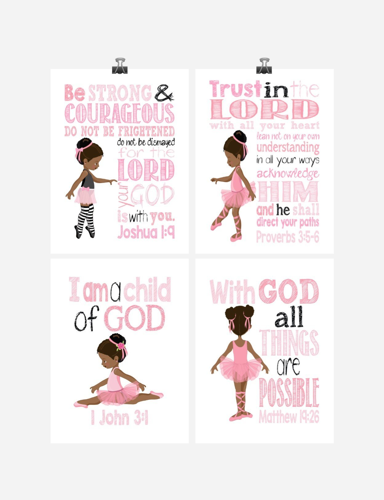African American Ballerina Christian Nursery Decor Wall Art Set of 4 Prints - Bible Verse - Multiple Sizes by Pixie Paper