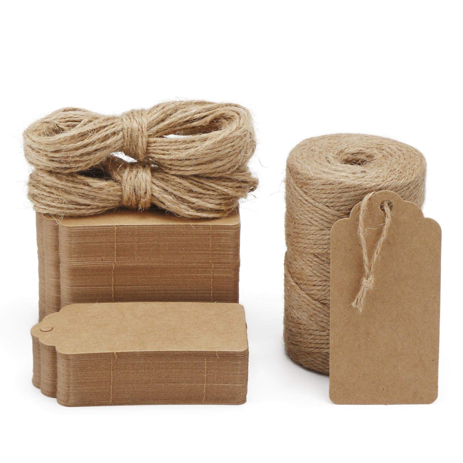 Gift Tags, 200PCS Segarty Kraft Paper Tags Brown Rectangle Craft Hang Tags with Free 393 Feet Natural Jute Twine for Christmas Wedding Birthday Thanksgiving Gift Ideas by Segarty