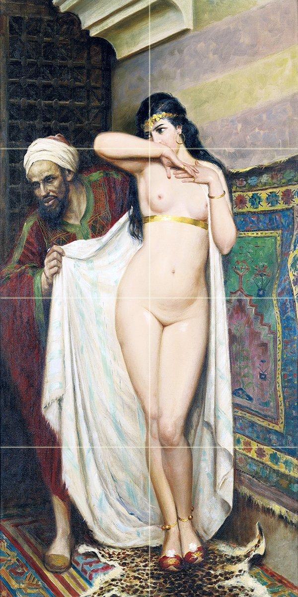 Tile Mural THE SLAVE MERCHANT by Fabio Fabbi girl nude man woman Kitchen Bathroom Shower Wall Backsplash Splashback 2x4 6'' Marble, Matte by FlekmanArt