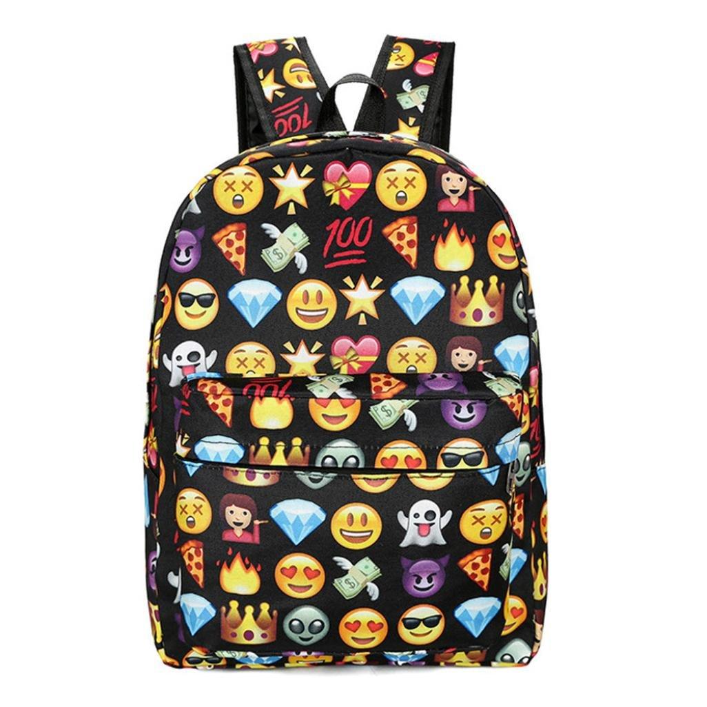 Creazy Fashion Teenage Girls Boys Print Face Backpack School Bags Fashion Shoulder Bag (Black) 85%OFF