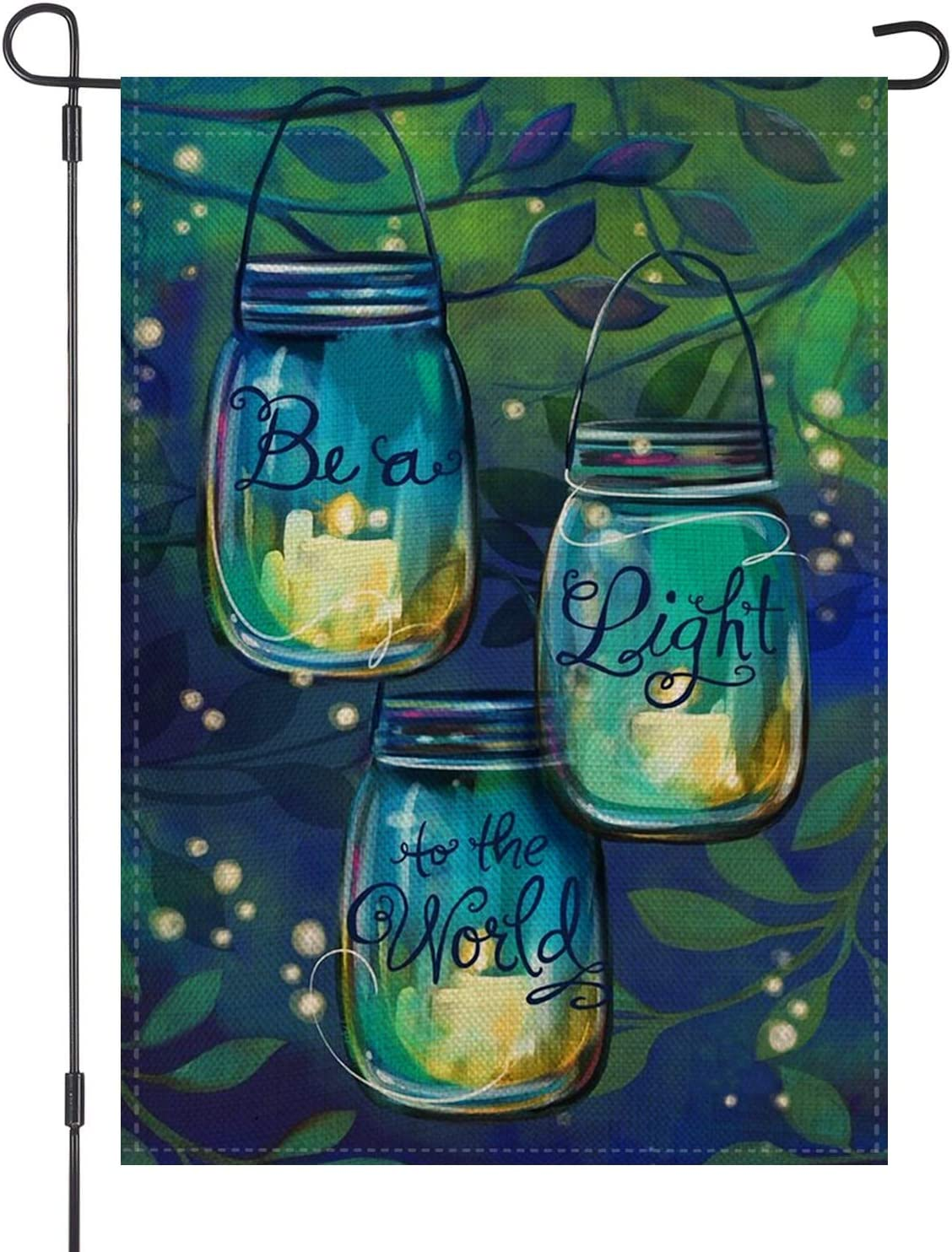 LOYOKI Be a Light to The World Candle Jar Summer Night House Garden Flag Burlap Double Sided Yard Outdoor Decorations 12.5 x 18 Inch