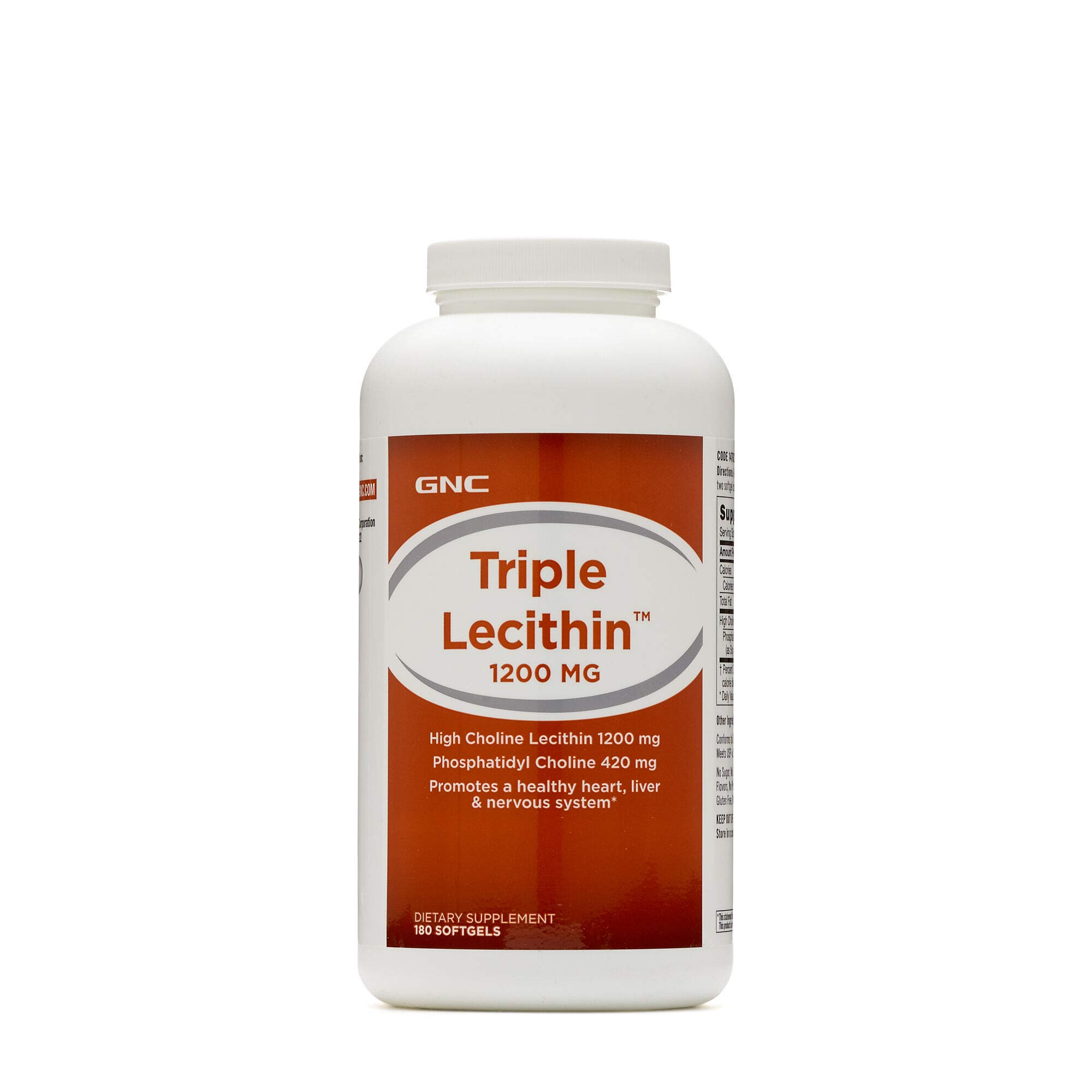 GNC Triple Lecithin 1200mg, 180 Softgels, Promotes a Healthy Heart, Liver and Nervous System by GNC