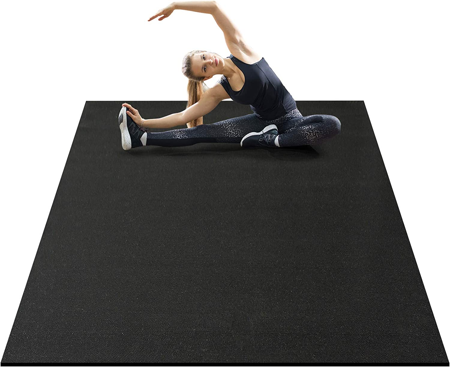 AROGAN Non Slip Exercise Mat for Home Gym Flooring 6x5 Feet, Large Thick Workout Mats 7mm, Durable Cardio Mat, Suitable for Jump, Plyo, Fitness, Stretch, Shoe Friendly