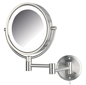 Amazon jerdon hl88nl 85 inch led lighted wall mount makeup jerdon hl88nl 85 inch led lighted wall mount makeup mirror with 8x magnification nickel aloadofball Choice Image