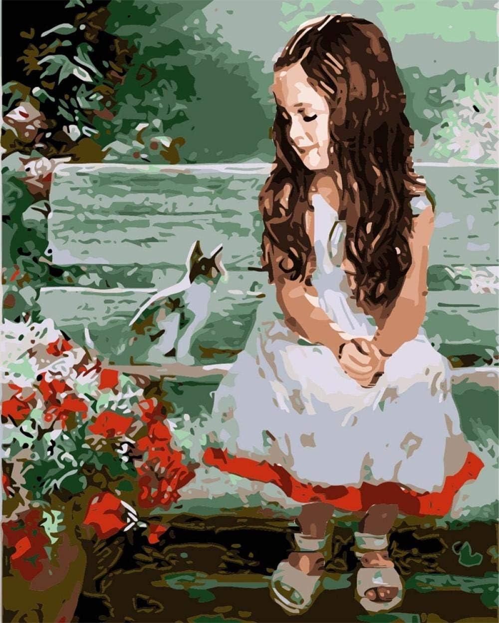 GenericBrands Pintar por números - Gato y niña Tumbona de jardín - DIY Pintura al óleo Lienzo por números Niños Pintura acrílica hogar Salón de la Oficina Pintura 40X50cm Sin Marco