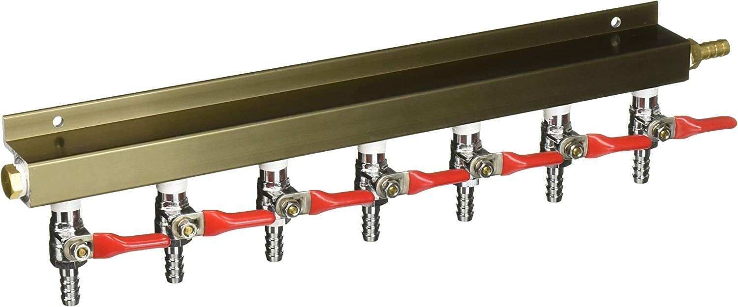 """The Weekend Brewer 7-way 5/16"""" Barb CO2 Distributor Manifold with integrated check valves"""