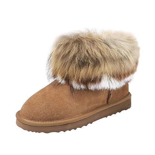 0a0163248f00 Shenduo Damen Winterstiefel Leder Boots Kurz Schlupfstiefel Winterschuhe  D9258 Chestnut 41