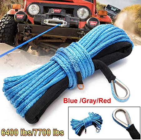6mm x 15m Synthetic Winch Line Cable Rope SUV ATV Vehicle Car Universal UTV HL