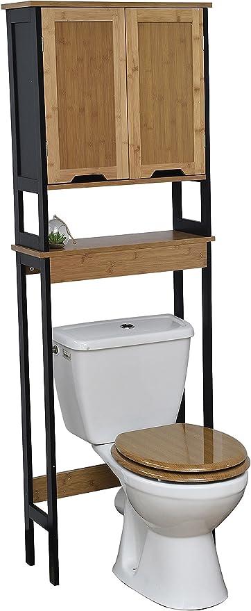Mueble encima del retrete WC - 2 puertas 1 estantería - Estilo Vintage - en BAMBU - Color NEGRO y MADERA