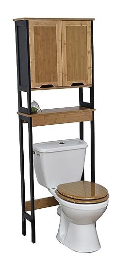 Tendance Meuble Dessus Toilettes Wc 2 Portes Et 1 Tablette Style Vintage En Bambou Coloris Noir Et Bois