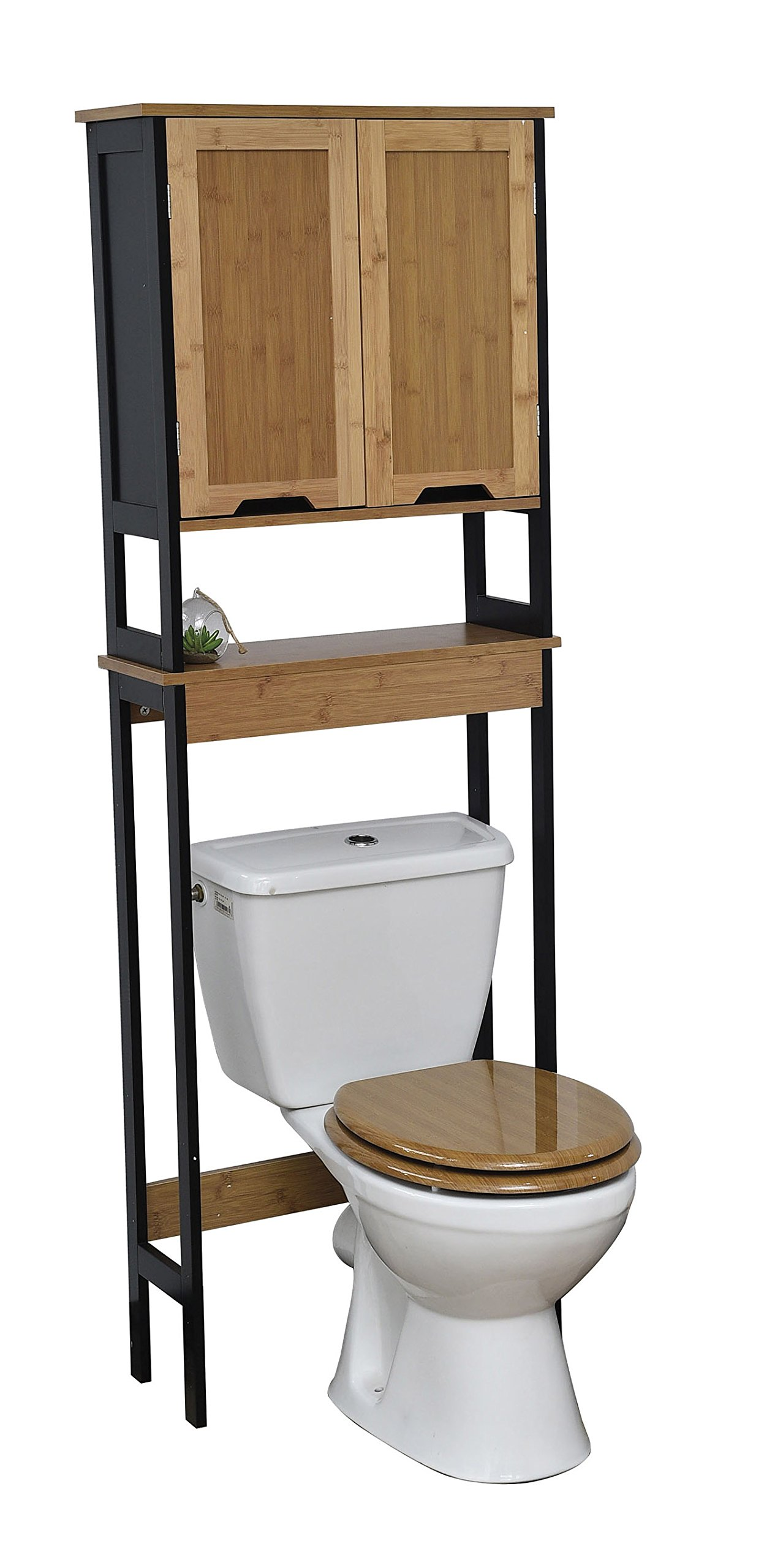Evideco Free Standing Over The Toilet Phuket Space Saver Cabinet Black and Bamboo