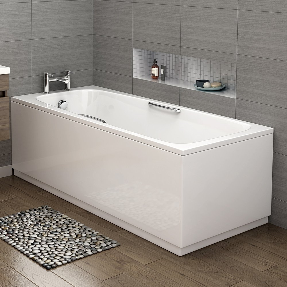 1700 Mm Round Single Ended Bath Modern Straight White Bathtub With Handles:  IBathUK: Amazon.co.uk: DIY U0026 Tools