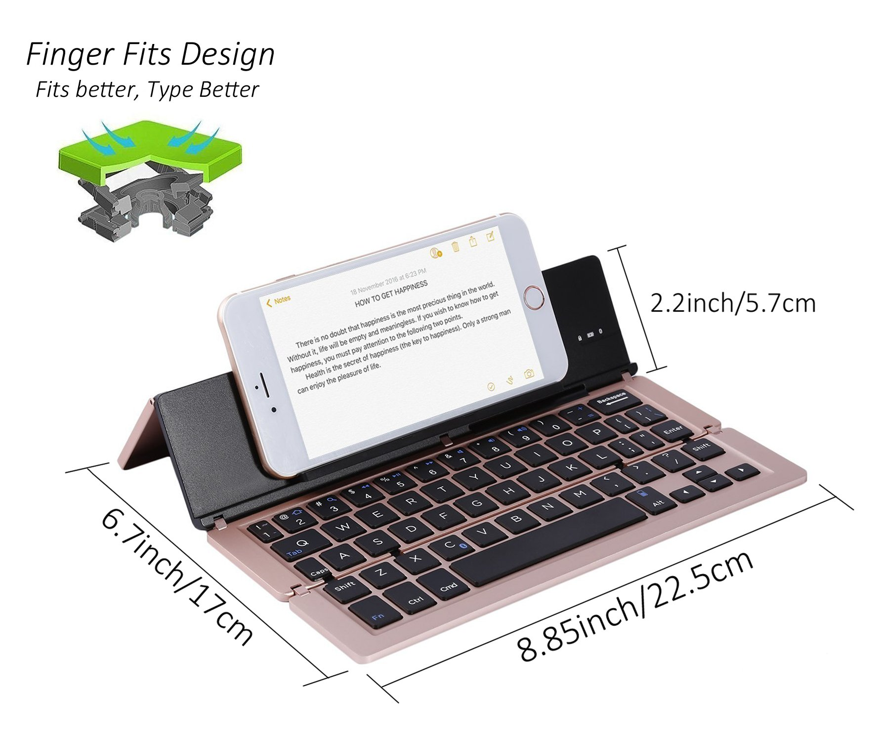 Lucky2Buy Foldable Portable Bluetooth Wireless Keyboard with Kickstand Holder For iPhone, iPad, Andriod Smartphone and Windows Tablet - Rose Gold by Lucky2Buy (Image #4)